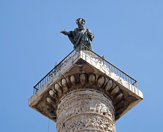 Detail of the Top of the The Column of Marcus Aurelius in Rome, July 2012