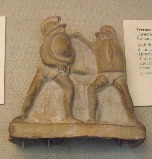 Terracotta Figurine of a Thracian Fighting a Hoplomachus in the British Museum, April 2013