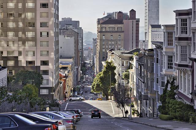 Looking Down Nob Hill – Mason Street below California Street, San Francisco, California