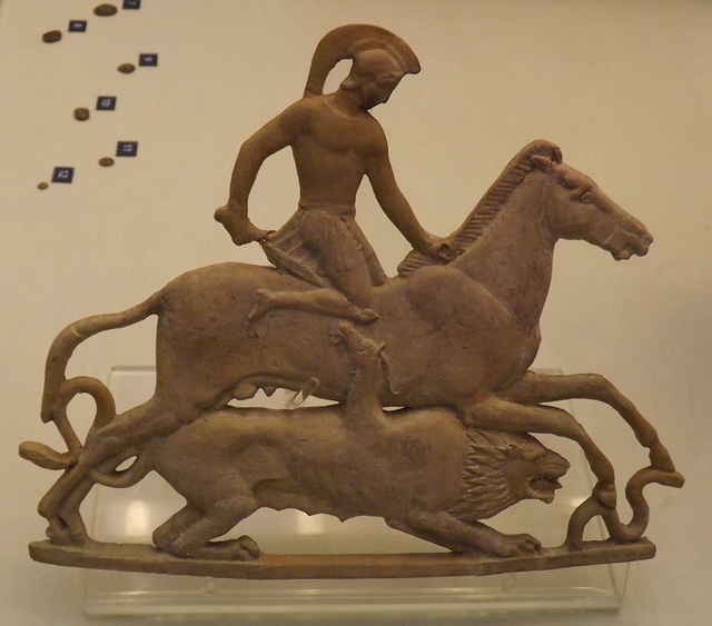 Bellerophon and Chimaera Terracotta Plaque in the British Museum, May 2014