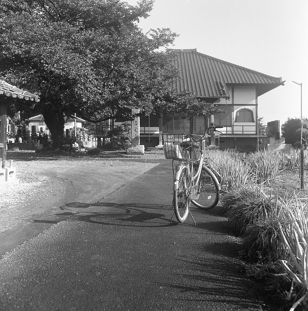 Bicycle on a path to a temple
