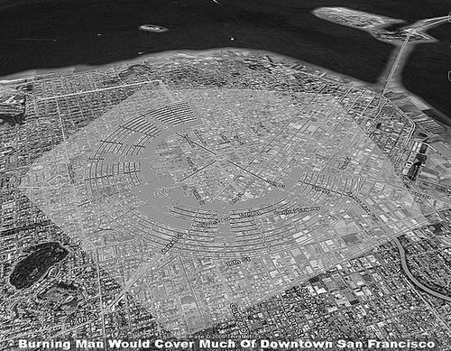 Black Rock City map overlaid onto San Francisco