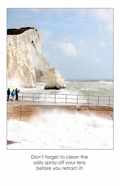 Salt spray on the lens - Seaford Head - 29.8.2014