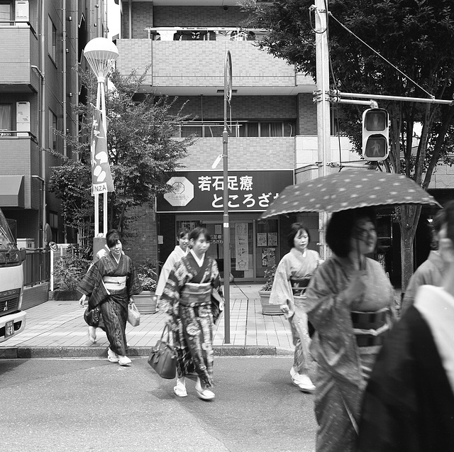 Kimono ladies crossing the intersection