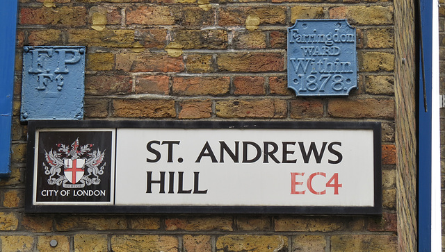 ward boundary marker, st.andrew's hill, london