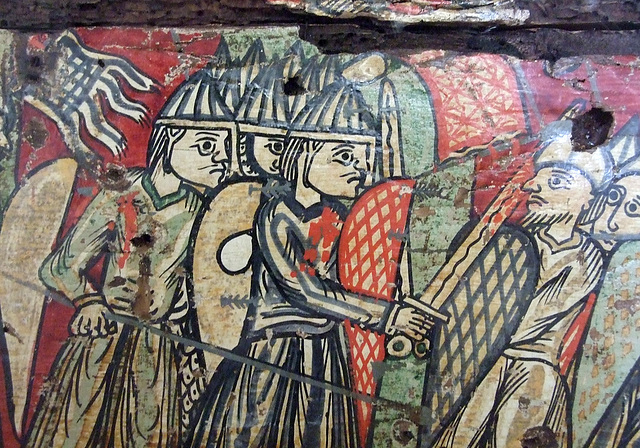 Detail of a Painted Wood Box with Scenes of the Capture of Orange in the Cloisters, April 2012