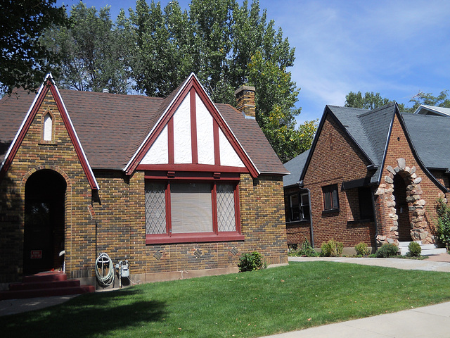 Two Tudor revival cottages
