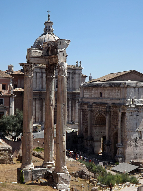 The Temple of Vespasian and the Arch of Septimius Severus in the Forum Romanum, July 2012
