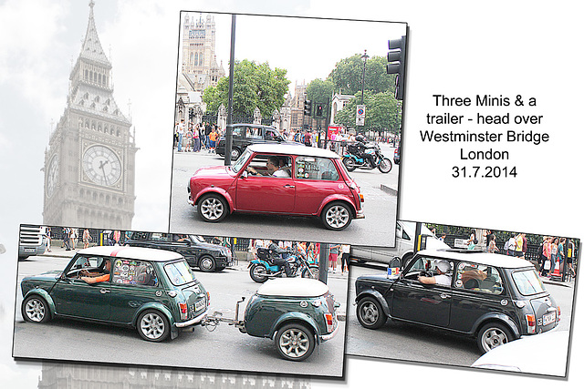 Three Minis & a trailer - Westminster - 31.7.2014