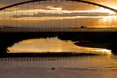 Zaragoza sun going down near the expo site