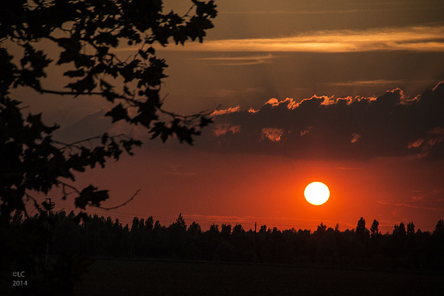 Sunset on the road from Venice to Carmignano, Italy