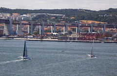 Oman Air-Musandam and Prince de Bretagne on Tagus River.