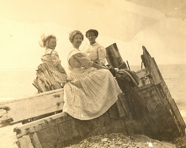Grandmother with friends on the shore of Lake Michigan, about 1910