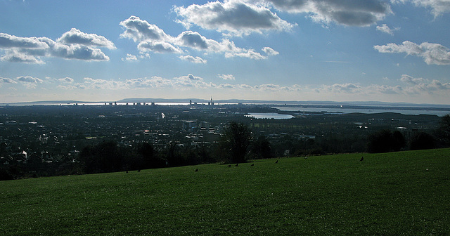 From Portsdown Hill over Portsmouth, The Solent and Isle of Wight