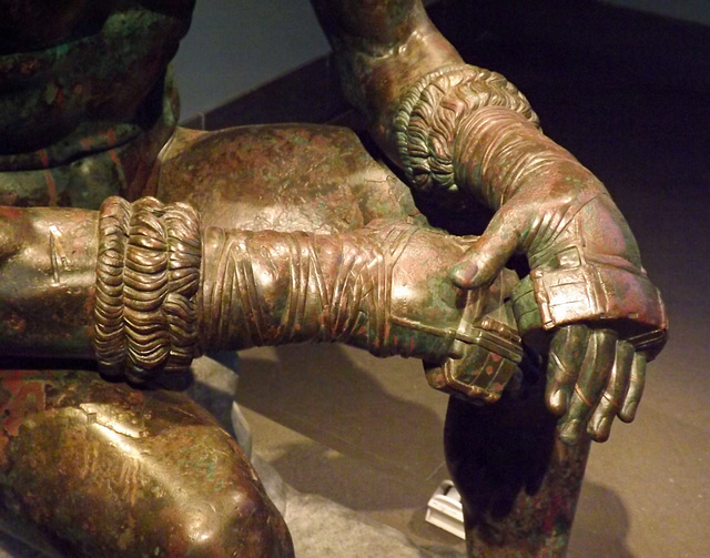 Detail of the Hands of the Boxer in the Palazzo Massimo in Rome, July 2012