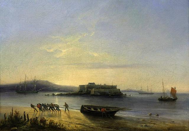Ferdinand Victor Perrot - Virage de la longue barque sur la plage