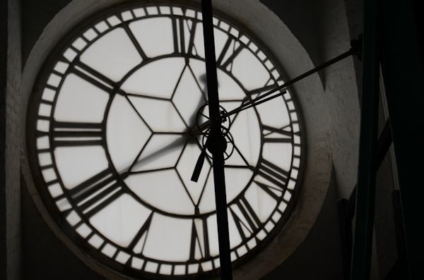 Behind the clock face
