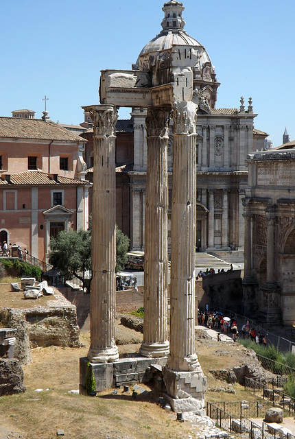 The Temple of Vespasian in the Roman Forum, July 2012