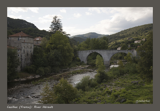 Old bridge and river Hérault in Cazilhac