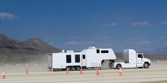 RV Delivery On The Entrance Road To Burning Man 2014 (0338)