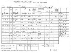 951 Premier Travel: Drivers log sheet LJE 992G 26 Feb 1971