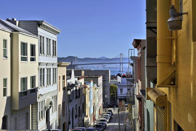 The Oakland Bay Bridge – Seen from John Street, San Francisco, California