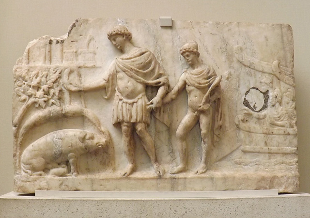 Relief with the Arrival of Aeneas and his Trojan Companions in Italy in the British Museum, April 2013