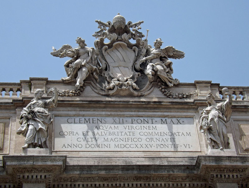 Detail of the Inscription on the Fountain of Trevi in Rome, June 2012