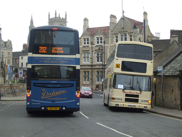 DSCF5921 Delaine Buses AD63 DBL and Mark Bland Travel M456 UKN in Stamford - 11 Sep 2014
