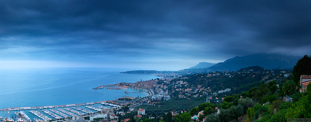 panorama of Menton from above