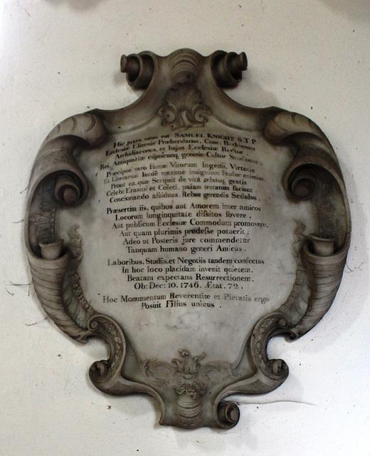 Memorial to Samle Knight, Bluntisham Church, Cambridgeshire