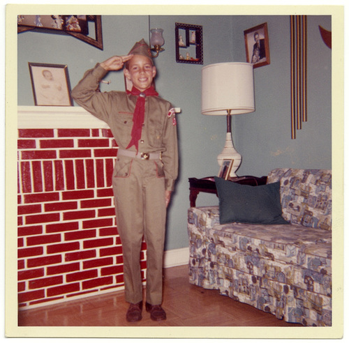 A Boy Scout Salute in the Living Room