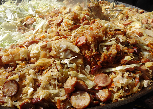 Cabbage, German sausages, bacon, ham, onions.