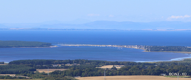 The village of Findhorn circling the bay at high tide