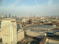 Waterloo Station and the City of London from the Eye