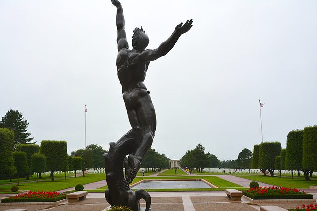 Omaha Beach 2014 – Normandy American Cemetery and Memorial at Colleville-sur-Mer – The Spirit of American Youth Rising from The Waves
