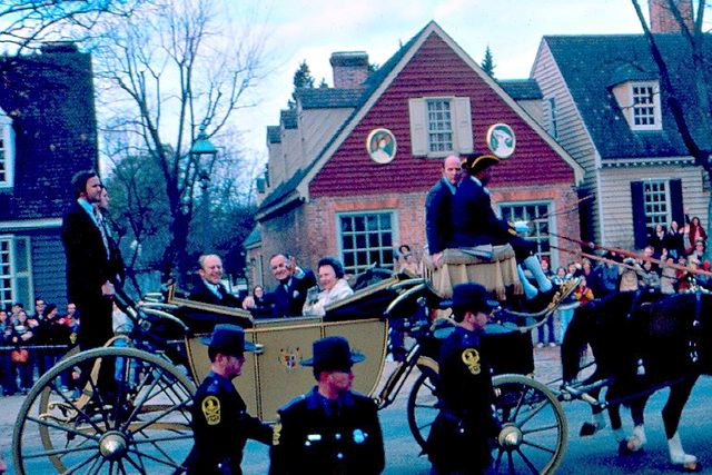 The '70s: A bicentennial minute in Colonial Williamsburg, VA.  President Ford, the Governor of Virginia and wife amused by my daughter's two-handed wave.