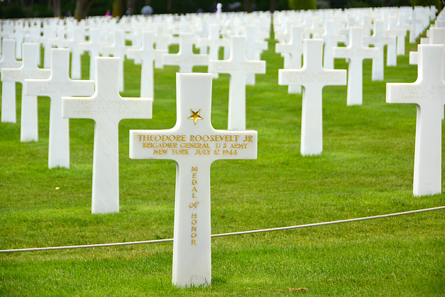 Omaha Beach 2014 – Normandy American Cemetery and Memorial at Colleville-sur-Mer – Grave of General Theodore Roosevelt Jr.