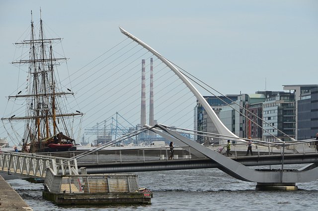 JEANIE JOHNSTON and Liffey Bridges, Dublin