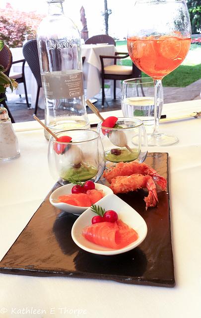 Hotel Villa Flori appetizer and Aperol spritz