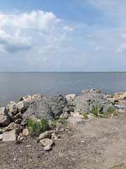 Shoreline concrete loaves of Sabine Lake.
