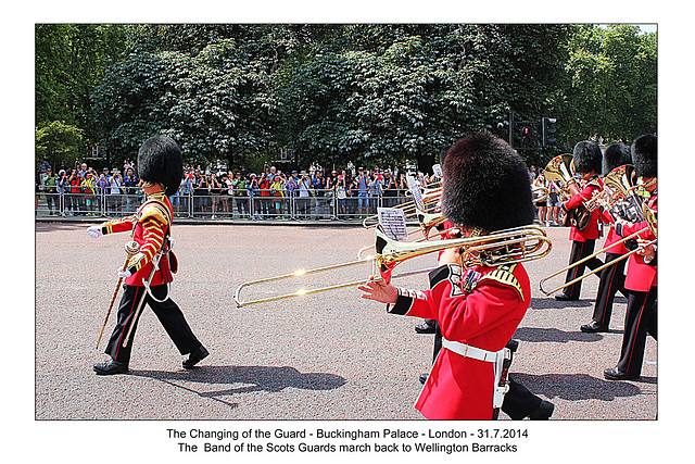 Changing of the Guard - the band marches back to barracks - London - 31.7.2014