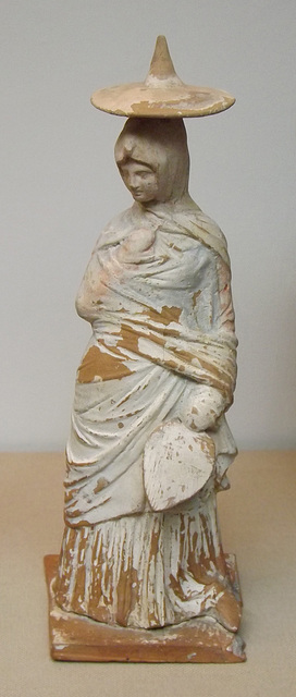 Terracotta Figure of a Woman in Outdoor Dress in the British Museum, April 2013