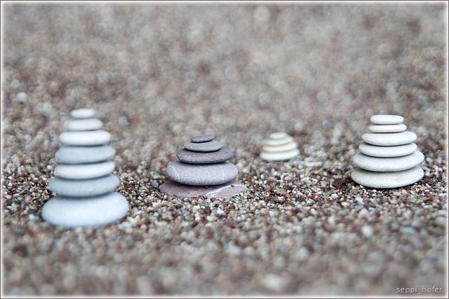 greek beach stone piles