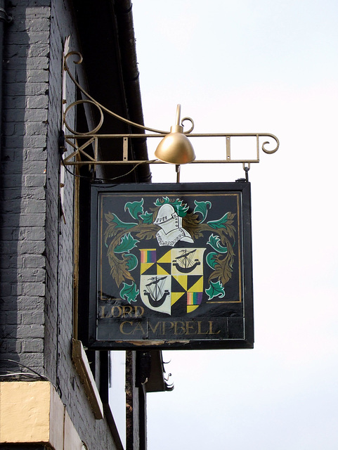 The Lord Campbell public house sign, Alexandra Road, Aldershot
