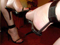 My friend Carla in her black fetish High-heeled sandals