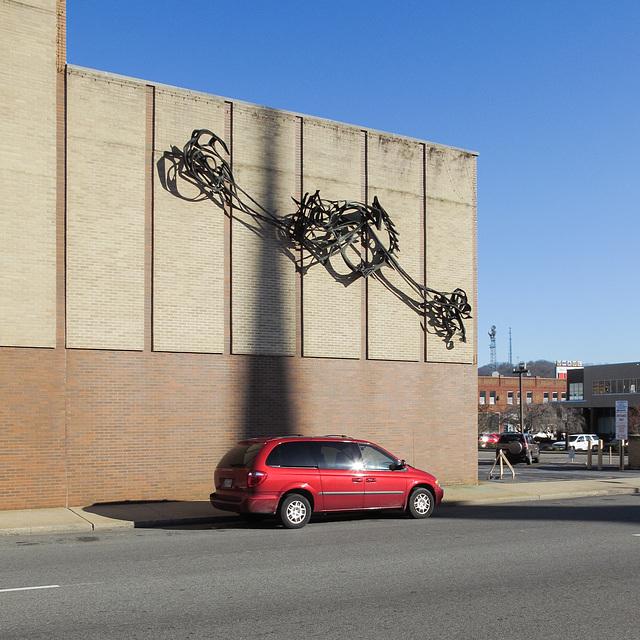 Modern large façade sculpture.