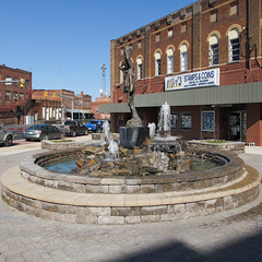 Sunshine flatters a fountain in downtown Johnson City.