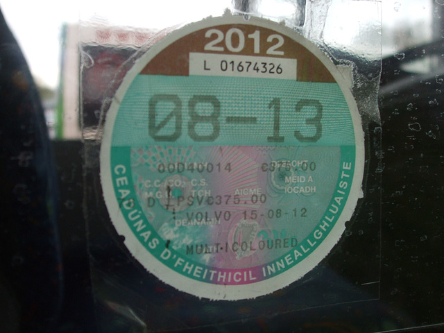 DSCF6458 Irish Republic Motor Tax Disc (on former Dublin Bus 00D 40014)
