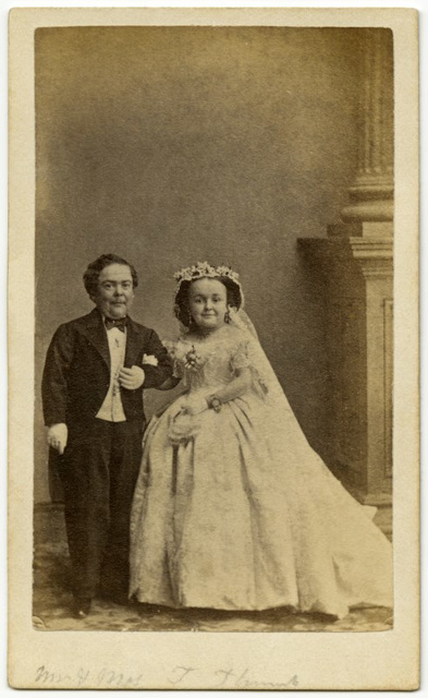 Mr. and Mrs. Tom Thumb in Their Wedding Attire